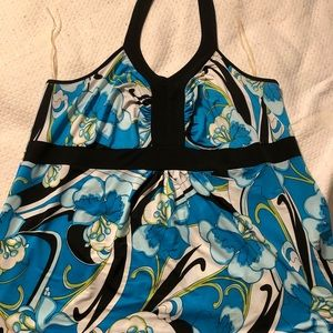 Blue floral halter top